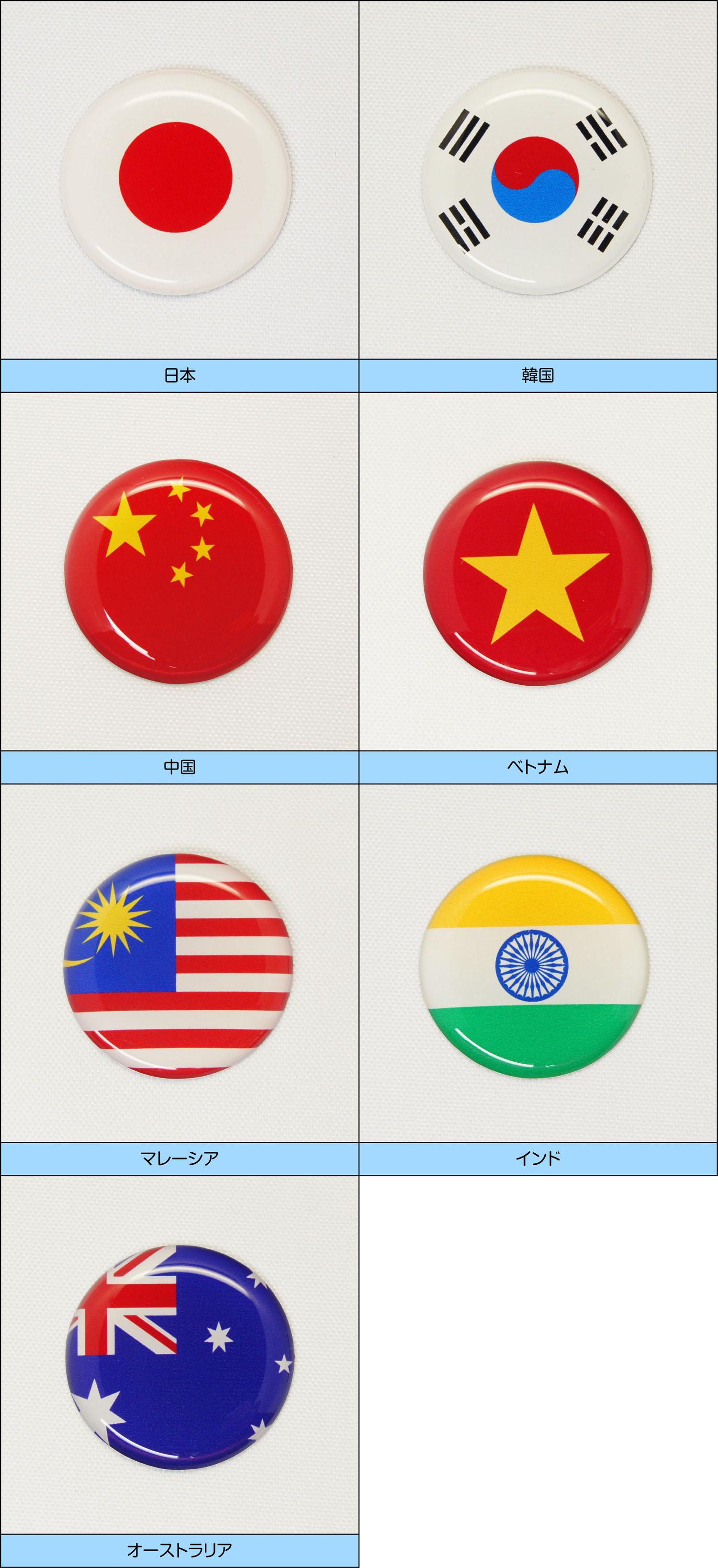 世界の国旗ゴルフマーカー アジア・オセアニア地区 一覧